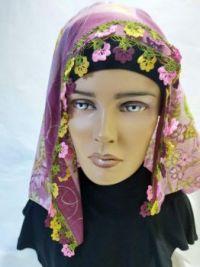 Turkish oya scarf , square scarves hijab headcovering tichel ,headband , headscarf,