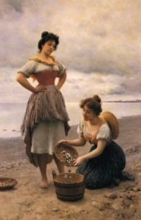 "Eugene de Blaas, ""Gathering Shells"""