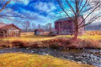 Red Barn and Stream