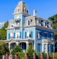 Blue and white Victorian Mansion