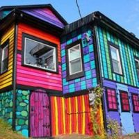 Mason Brown and Kat O'Sullivan's colorful Calico house, located in High Falls, New York.