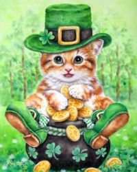 Cat and pot of gold