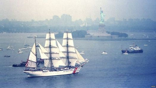 USCG TRAINING SHIP EAGLE IN NY HARBOR; BUILT IN 1936 AS THE HORST WESSEL.