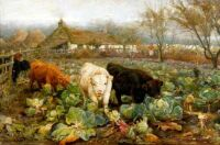 Cattle in the Cabbage Patch by Joseph Donovan Adam (1841-96)