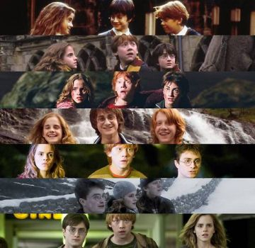 Harry, Ron and Hermione over the 8 movies