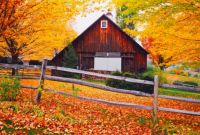 Weathered barn in the fall