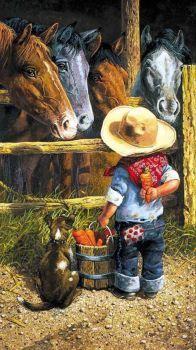 Little farmer teasing horses