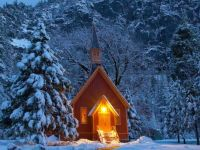 Chapel in Winter, Yosemite National Park, California  USA