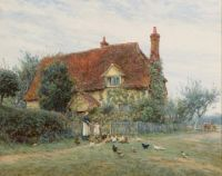 Helen Allingham (née Paterson) (British painter) 1848 – 1926 Feeding Time at the Cottage,