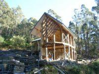 Port Huon, Tas, Australia - Post & beam structure complete & roof on.