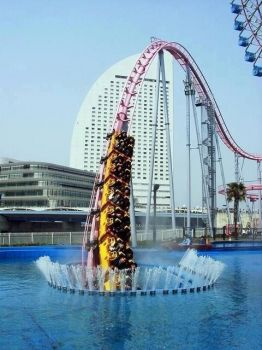 Vanish roller coaster at Cosmo Land in Japan unexpectedly dives into an underwater tunnel.
