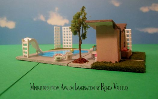 1:144th Scale Mid-century modern pool house