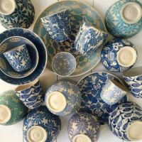 Handmade and colorfully decorated ceramics by Inge Burgerhoudt