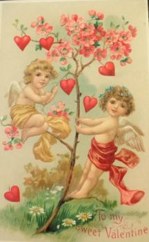 The tree of hearts - vintage valentine postcard
