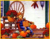 Scarecrow on a porch.