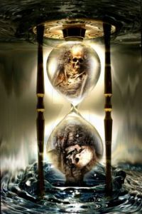 skull hourglass...running outa time...