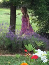 Granddaughter is like a little fairy in the garden.