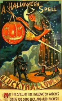 Vintage Halloween - Witch greeting card