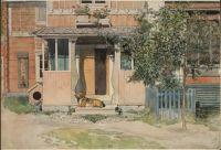 Dog on veranda - Carl Larsson.tif