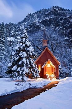 Merry litte church in the snow
