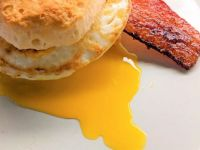 BEC (Bacon, Egg, Cheese) biscuit with dripping yolk
