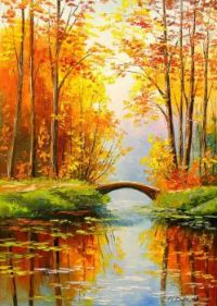 Bridge in the Autumn Forest by Olha Darchuk