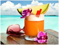 Refreshing Island Drink with Melon and Orchids