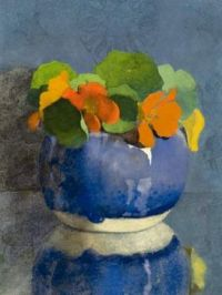 Jan Voerman Nasturtiums and blue bowl