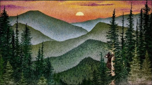 Sunset in the Forest Pointillism