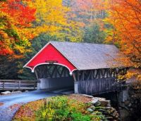 The Flume Covered Bridge over Pemigewasset River  --  New Hampshire...