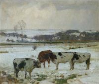 "Sir John Alfred Arnesby Brown R.A., ""Cattle in Snow"""