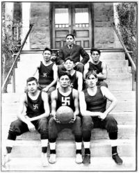 THEME :  B & W Photos ~ North American Native Chilocco Indian Agricultural School Basketball Team . . .  Swastika, Good Luck