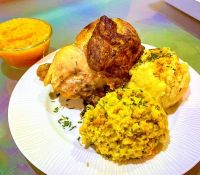 Comfort Food - Roasted Chicken, Knödel, Roasted Garlic Mashed Potatoes and Butternut Squash