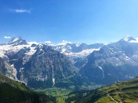 Looking down onto Grindelwald. Switzerland