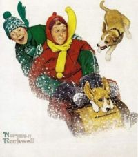 Sledding kids and dogs