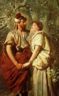 Edward Henry Corbould - Troilus and Cressida in the Garden of Pandarus 1873
