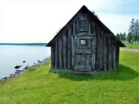 Old fishing shack by Lake Superior