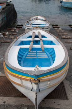 blue and white boats, Capri