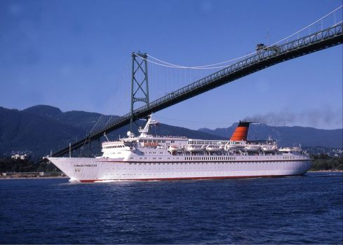 Cunard Princess under the Lions Gate Bridge Vancouver