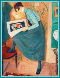 Young Woman Reading Art Magazine (1919)