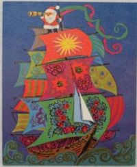 Vintage Greeting Card - Santa on a Tall Ship