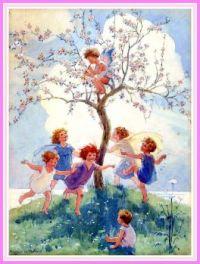 Springtime, Children as Apple Blossom Fairies (smaller size)