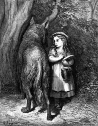 Red Riding Hood meets old father wolf - Gustave Doré