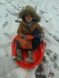 My grandson on a snow day