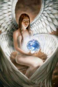Engel met kristalbal