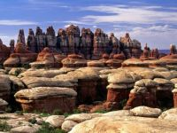 Sandstone rock formations in Chesler Park, Canyonlands National Park, Utah