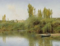 """Emilio Sánchez Perrier, """"Bank of the Guadaira with Boat"""""""