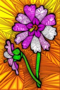 STAINED GLASS FLOWER B66