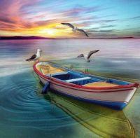 Barque, tout en couleur.
