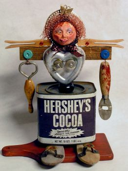 Found Altered Art Doll ~ Love That Hershey's Cocoa!